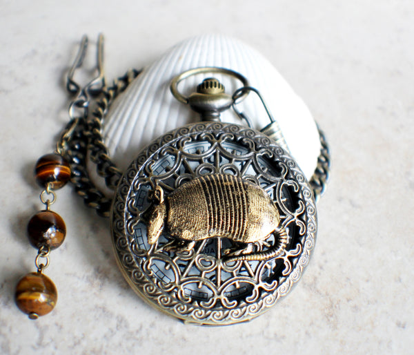 Armadillo pocket watch, mens pocket watch with armadillo mounted on front case - Char's Favorite Things - 2