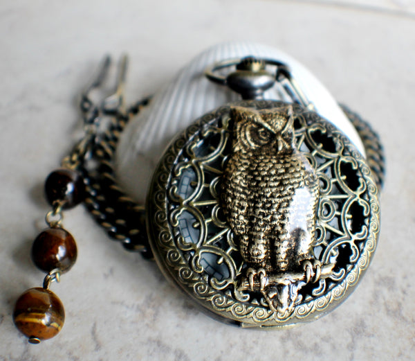 Owl pocket watch, mens mechanical pocket watch with owl mounted on front case - Char's Favorite Things - 2