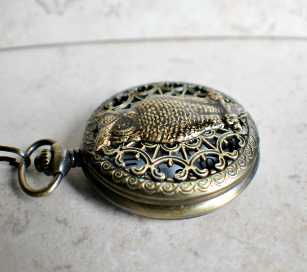 Owl pocket watch, mens mechanical pocket watch with owl mounted on front case - Char's Favorite Things - 3