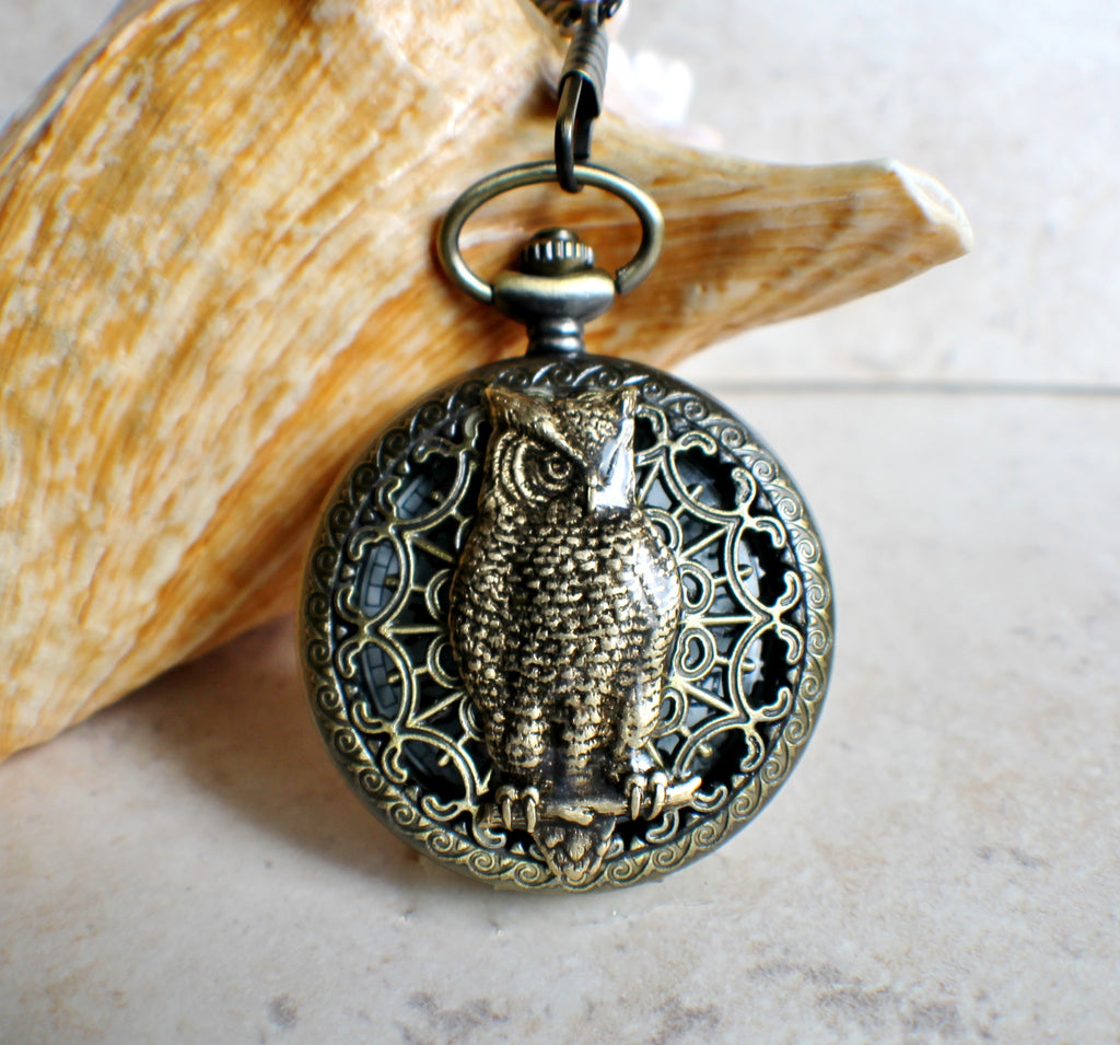 Owl pocket watch, mens mechanical pocket watch with owl mounted on front case - Char's Favorite Things - 1