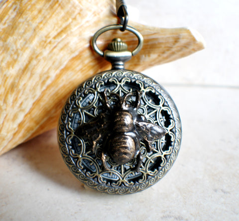 Bumble bee pocket watch,  men's bumble bee pocket watch with tiger eye beads on watch chain - Char's Favorite Things - 1