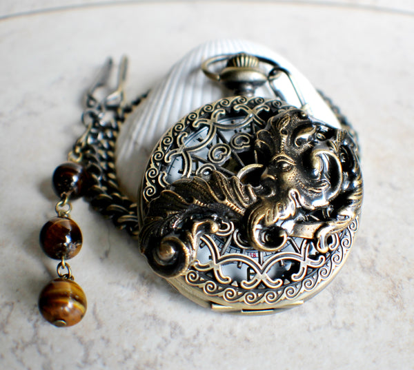 Mechanical pocket watch, men's pocket watch with God of the wind mounted on front - Char's Favorite Things - 2