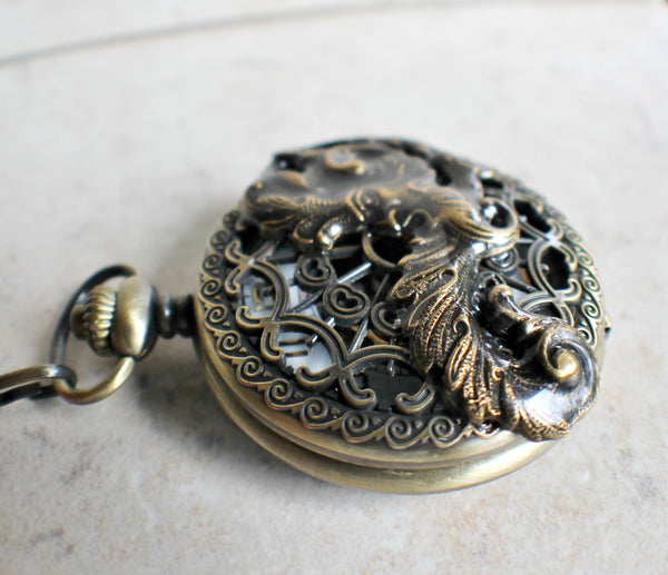 Mechanical pocket watch, men's pocket watch with God of the wind mounted on front - Char's Favorite Things - 3