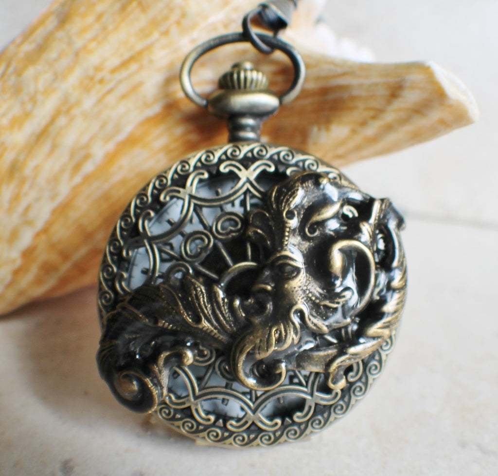 Mechanical pocket watch, men's pocket watch with God of the wind mounted on front - Char's Favorite Things - 1