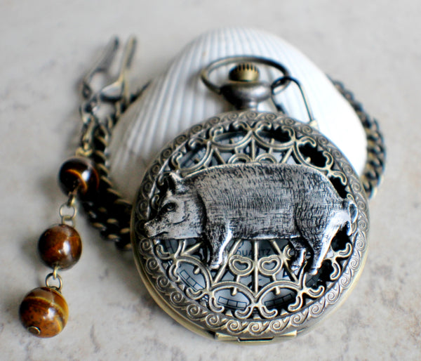 Pig pocket watch, mens pocket watch with silver pig mounted on front case cover. - Char's Favorite Things - 2