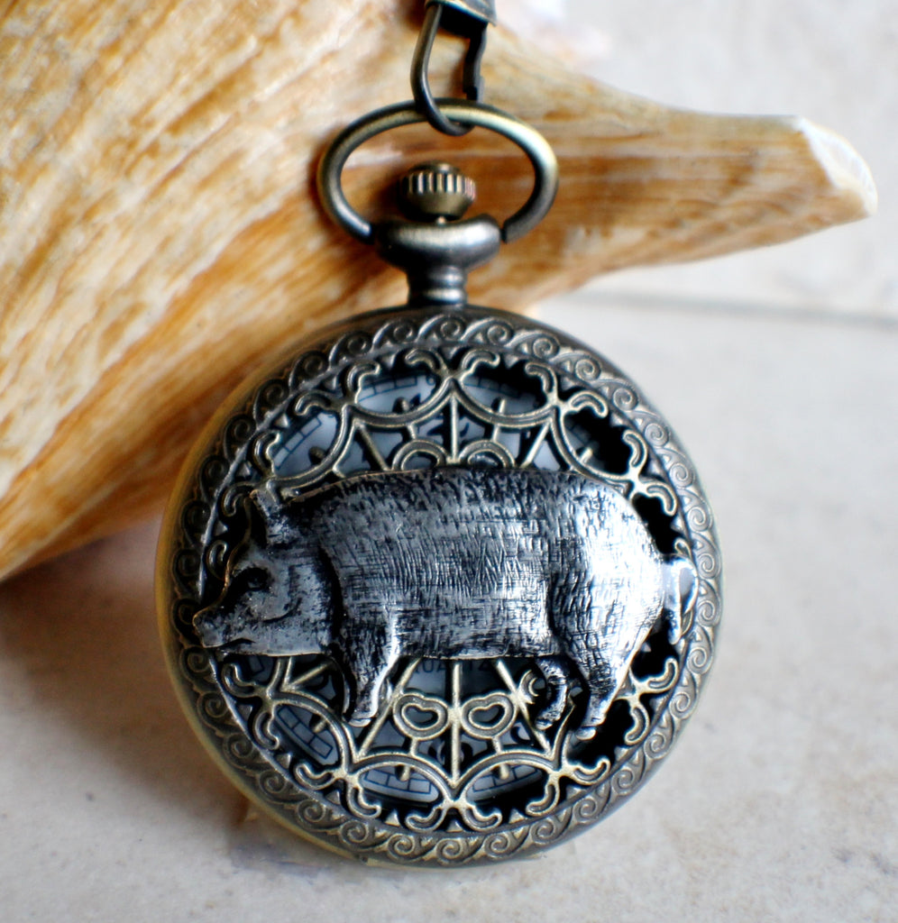 Pig pocket watch, mens pocket watch with silver pig mounted on front case cover. - Char's Favorite Things - 1