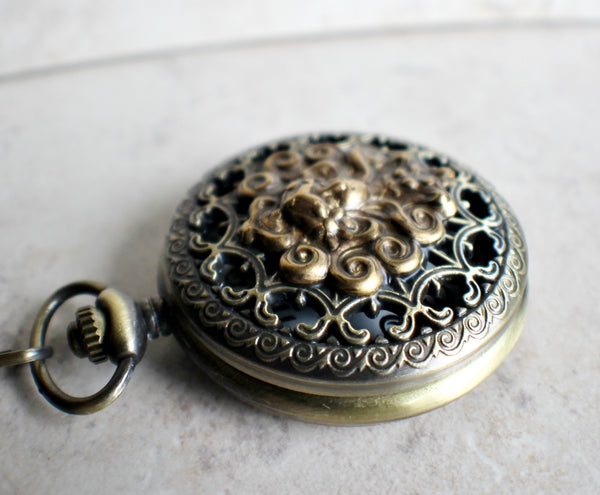 Mythological pocket watch, mens pocket watch with bronze mythological stamping on front cover. - Char's Favorite Things - 3