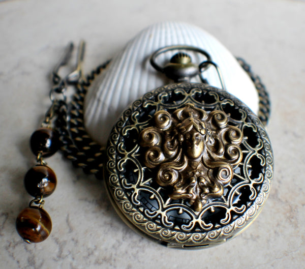 Mythological pocket watch, mens pocket watch with bronze mythological stamping on front cover. - Char's Favorite Things - 2