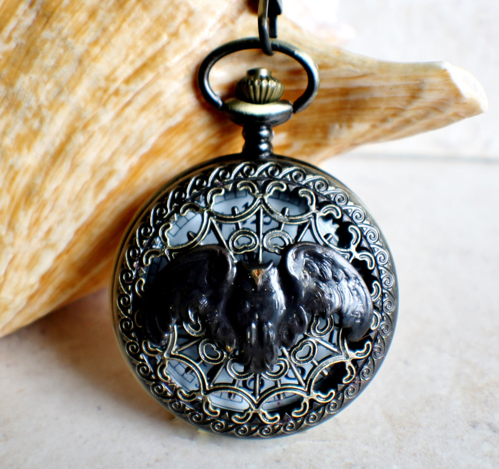 Owl pocket watch, mens pocket watch with flying owl mounted on front case - Char's Favorite Things - 1