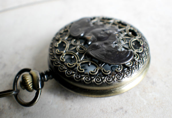 Owl pocket watch, mens pocket watch with flying owl mounted on front case - Char's Favorite Things - 3
