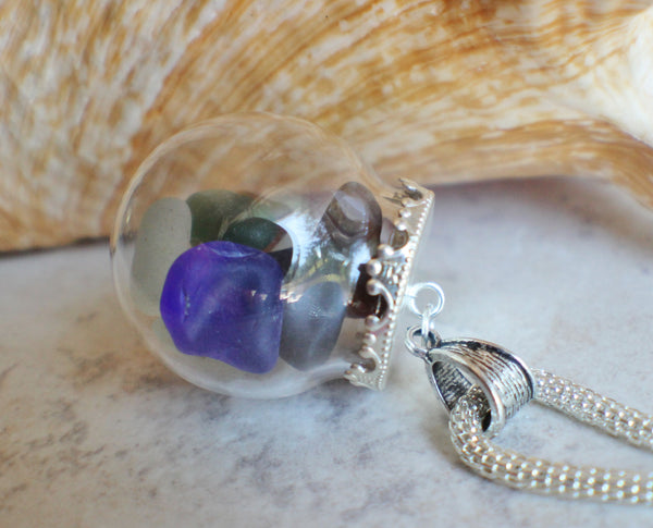 Sea glass orb necklace encloses  smooth sea glass with silver accents - Char's Favorite Things - 4