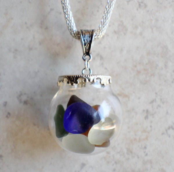Sea glass orb necklace encloses  smooth sea glass with silver accents - Char's Favorite Things - 5
