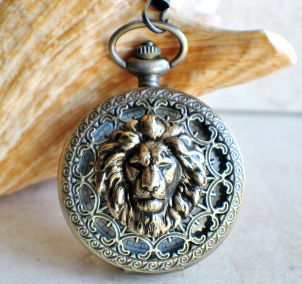 Lion Battery Operated Pocket Watch in Bronze - Char's Favorite Things - 1