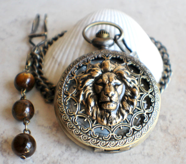 Lion Battery Operated Pocket Watch in Bronze - Char's Favorite Things - 2