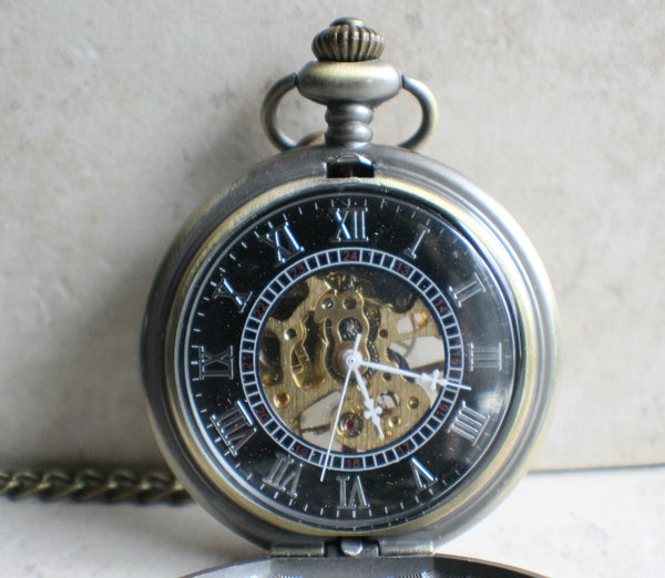 Bronze dragon pocket watch, men's mechanical  pocket watch with dragon watch fob.