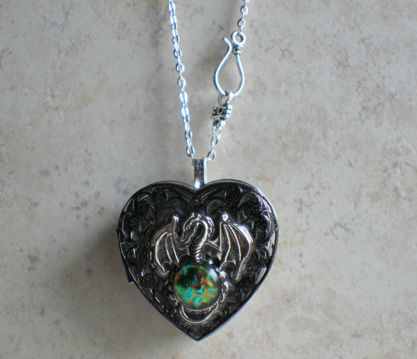 Dragon Music Box Locket in Silvertone