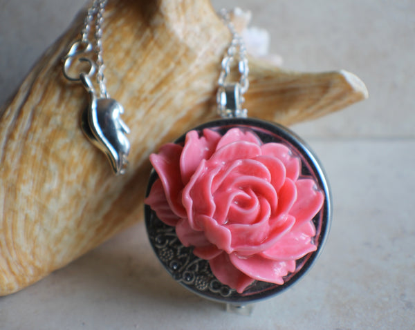 Pink Rose Music Box Locket