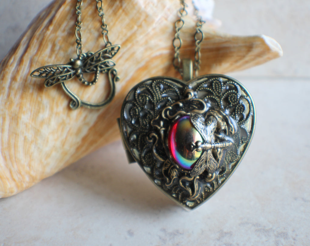 Dragonfly Music Box Locket with Ruby Glass Cabochon