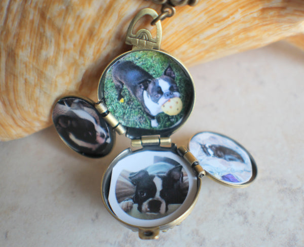 Multi Photo Locket with Blue Dragons Breath Glass Fire Opal