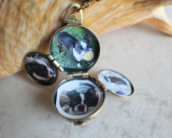 Deep Blue Fire Opal Multi Photo Locket