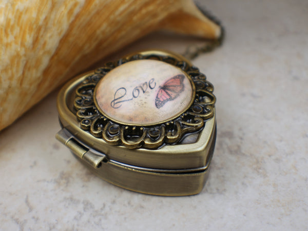 Butterfly Music Box Locket With Glass Cabochon