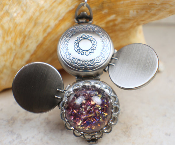 Amethyst Glass Fire Opal Four Photo Locket Silver