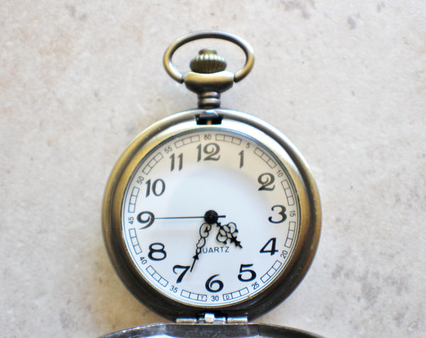 Four leaf clover pocket watch in bronze, battery operated. - Char's Favorite Things - 4