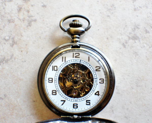 Mechanical pocket watch, men's pocket watch with God of the wind mounted on front - Char's Favorite Things - 4
