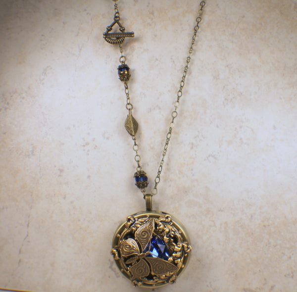 Blue Crystal Butterfly Music Box Locket