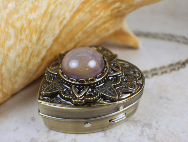 Blue Dragons Breath Glass Opal Music Box Locket