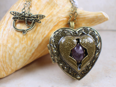 Angel Wing Music Box Locket with Amethyst.