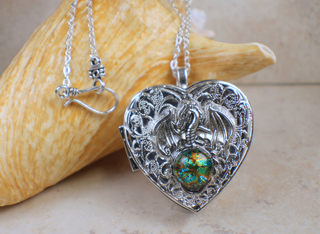 Silver Dragon Music Box Locket