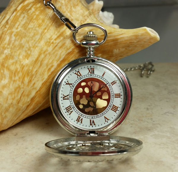 Cheetah pocket watch, mens pocket watch with Cheeta head mounted on front case in silver