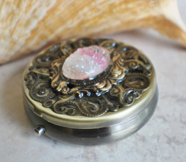 Victorian music  box locket, round bronze locket with music box inside. - Char's Favorite Things - 2