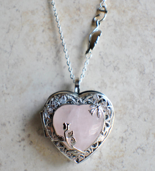 Music box locket in silver tone with rose quartz crystal heart. - Char's Favorite Things - 4
