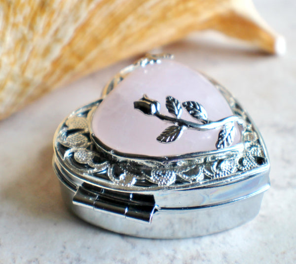 Music box locket in silver tone with rose quartz crystal heart. - Char's Favorite Things - 2