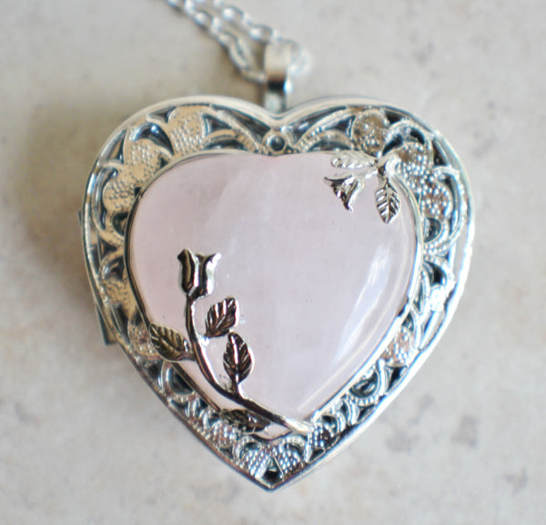 Music box locket in silver tone with rose quartz crystal heart. - Char's Favorite Things - 3