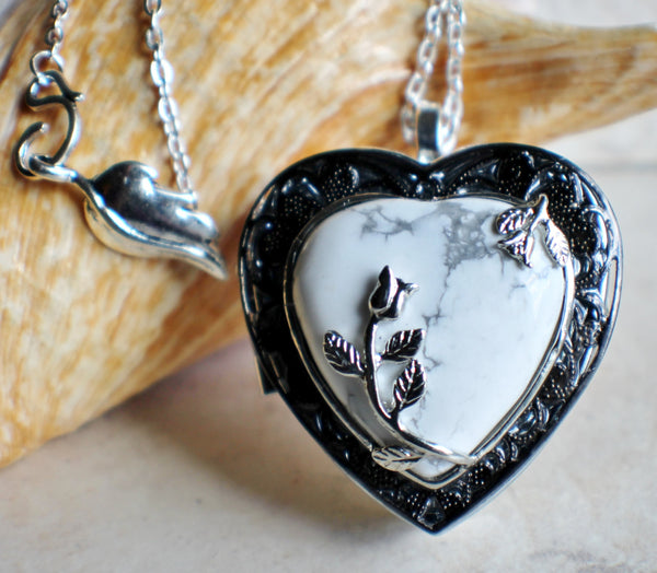 Turquoise heart music box locket - Char's Favorite Things - 1