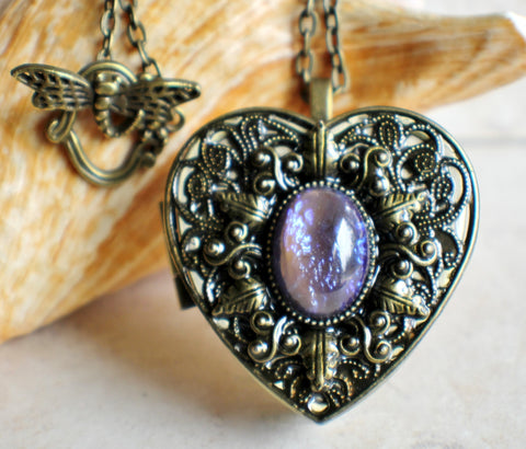 Blue dragons breath music box locket, heart shaped locket. - Char's Favorite Things - 1