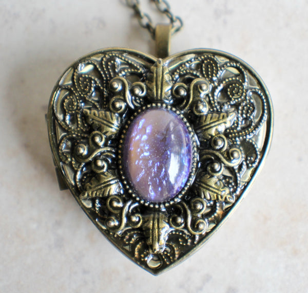 Blue dragons breath music box locket, heart shaped locket. - Char's Favorite Things - 3