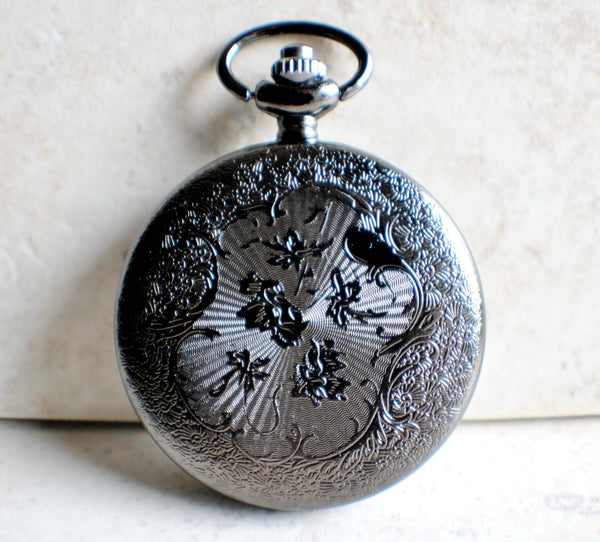 Silver dragon pocket watch, men's black pocket watch with silver dragon. - Char's Favorite Things - 5
