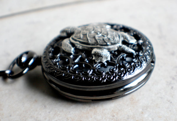 Turtle pocket watch battery operated in black. - Char's Favorite Things - 2