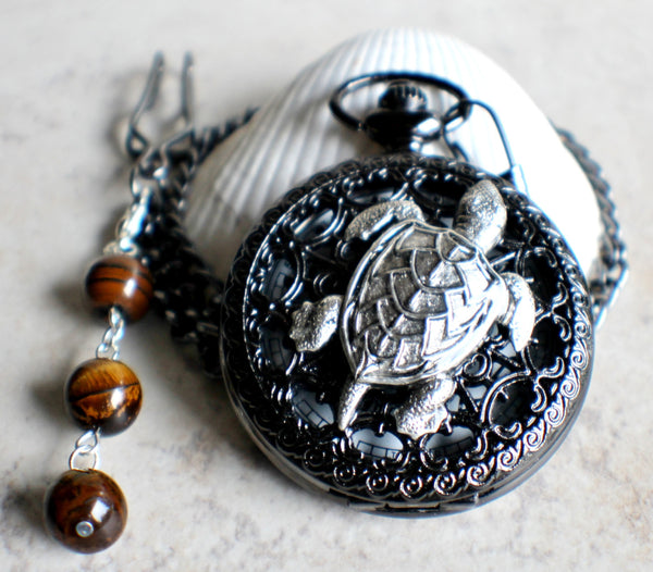 Turtle pocket watch battery operated in black. - Char's Favorite Things - 3