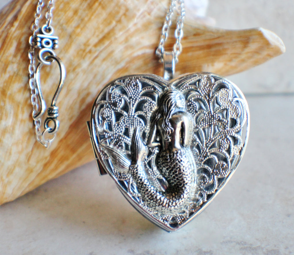 Silver Mermaid Music Box Locket - Char's Favorite Things - 1