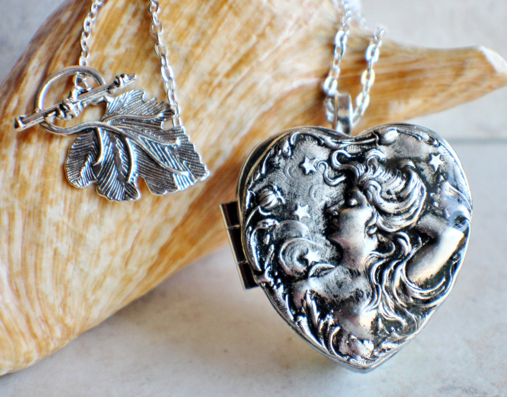 Victorian Maiden Music Box Locket In Silver - Char's Favorite Things - 1