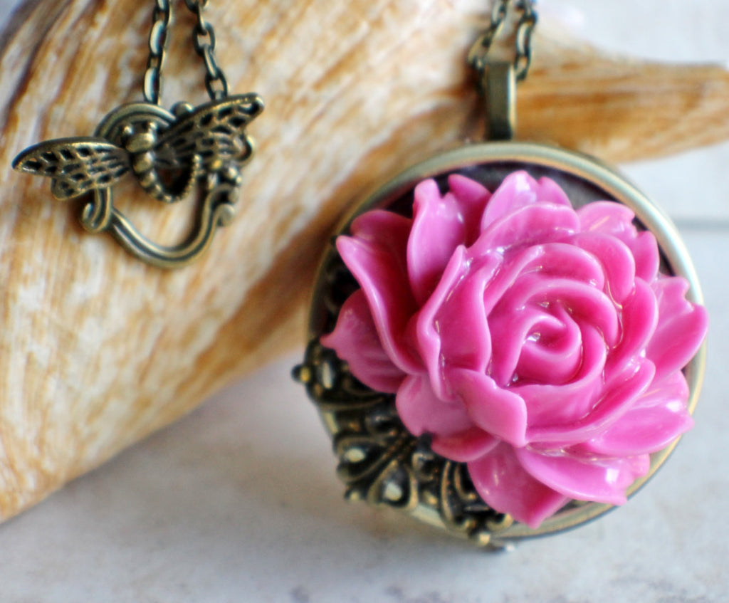 Pink Rose Music Box Locket - Char's Favorite Things - 1