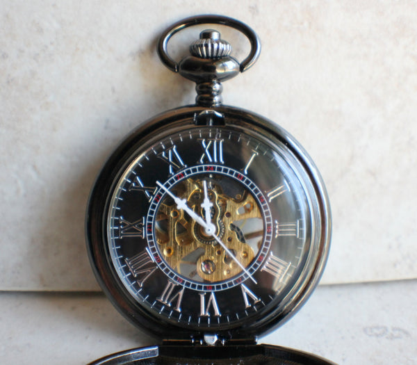 Black Skull and Crossbones Mechanical Pocket Watch - Char's Favorite Things - 4