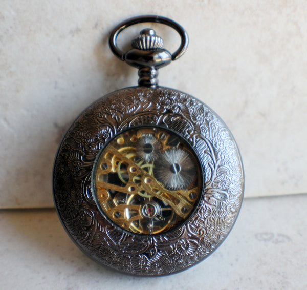 Black Skull and Crossbones Mechanical Pocket Watch - Char's Favorite Things - 5