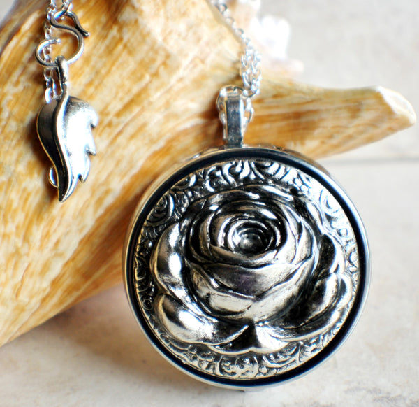 Music Box Locket with Silver Rose - Char's Favorite Things - 1