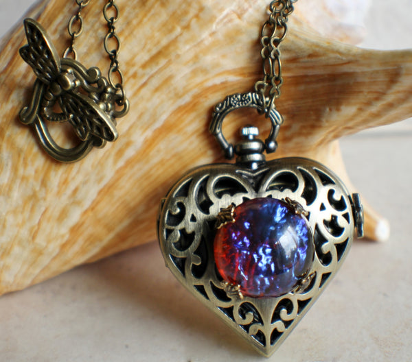Watch locket with dragons breath glass opal